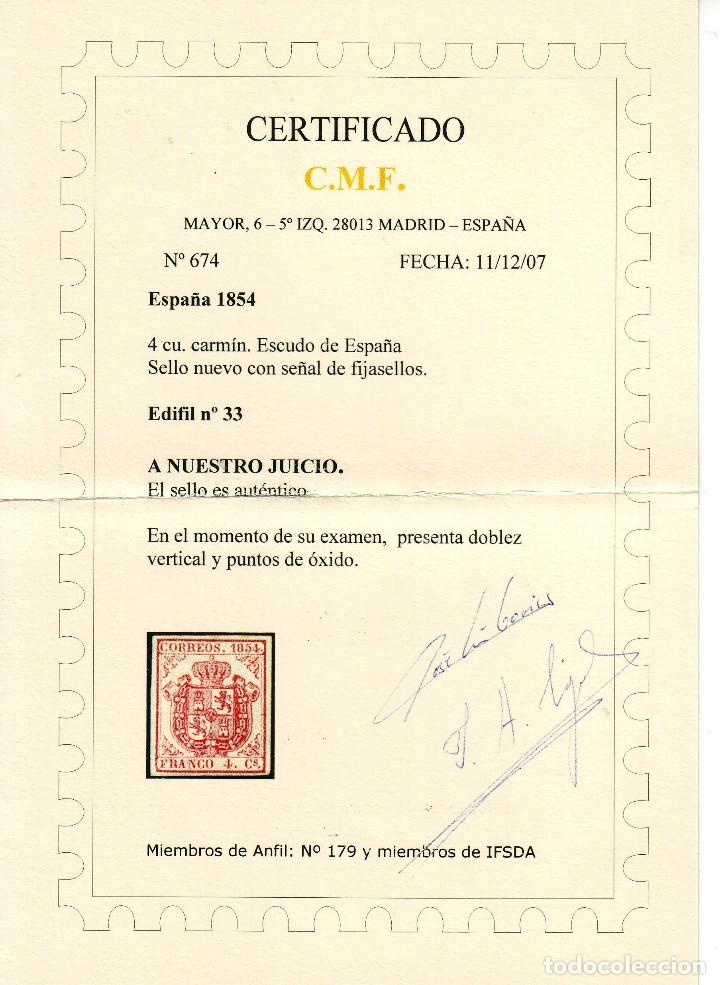 Sellos: AÑO 1854.EDIFIL 33 NUEVO.MAGNIFICA PRESENCIA VER CERTIFICADO.. VC 575 EUROS - Foto 2 - 120815515