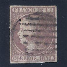 Sellos: EDIFIL 13. ISABEL II. AÑO 1852. MARQUILLADO AL DORSO. BUENOS MÁRGENES. VALOR CATÁLOGO: 180 €. LUJO.. Lote 121024859