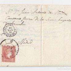 Sellos: CARTA DE PALMA DE MALLORCA. BALEARES. 1859. RUEDA DE CARRETA. RELIGIOSO ACEPTADO MISIONES PALESTINA.. Lote 121515299