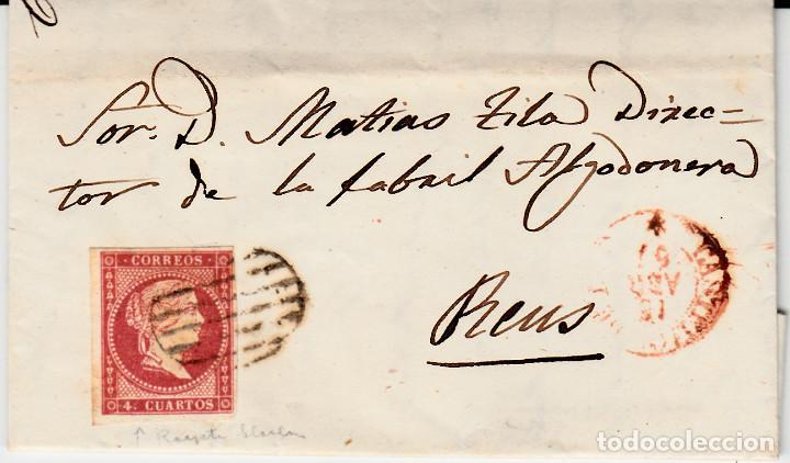 CARTA CON SELLO NUM 48 DE MIGUEL MANI EN CASTELLÓN --1857 MATASELLOS DE PARRILLA , FECHADOR ROJO (Sellos - España - Isabel II de 1.850 a 1.869 - Cartas)
