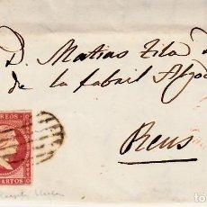 Sellos: CARTA CON SELLO NUM 48 DE MIGUEL MANI EN CASTELLÓN --1857 MATASELLOS DE PARRILLA , FECHADOR ROJO. Lote 121607759