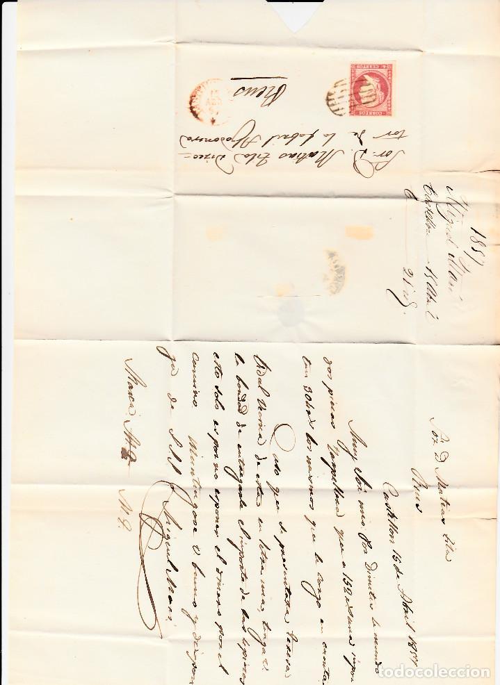 Sellos: CARTA CON SELLO NUM 48 DE miguel mani en castellón --1857 MATASELLOS DE PARRILLA , FECHADOR rojo - Foto 2 - 121607759