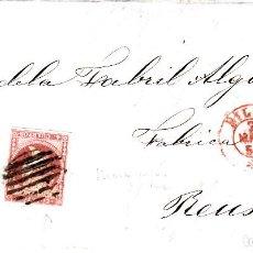 Sellos: CARTA CON SELLO NUM 48 DE JOSÉ GODO Y CIA EN BILBAO--1857 MATASELLOS DE PARRILLA , FECHADOR ROJO. Lote 121612727