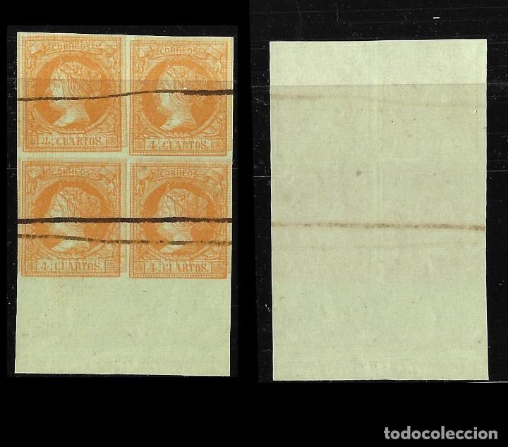 Sellos: ISABEL II 1860-61. Isabel II 4c. 2 Blq 4.Barrado.Edifil 52 - Foto 2 - 121967119