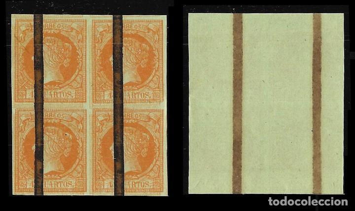Sellos: ISABEL II 1860-61. Isabel II 4c. 2 Blq 4.Barrado.Edifil 52 - Foto 3 - 121967119