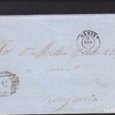 Sellos: F25-18-CARTA COMPLETA CÁDIZ-VILLAGARCÍA 1868. PARRILLA CIFRA 3. Lote 122047139