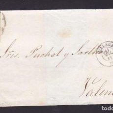 Sellos: F25-56-ENVUELTA MÁLAGA-VALENCIA 1861. RUEDA CARRETA 6. Lote 122047807