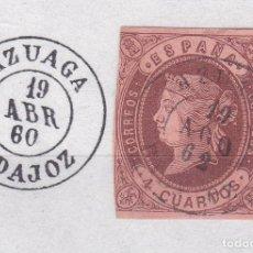 Sellos: CL8-21- CLÁSICOS EDIFIL 58. MATASELLOS AZUAGA BADAJOZ. Lote 122103179