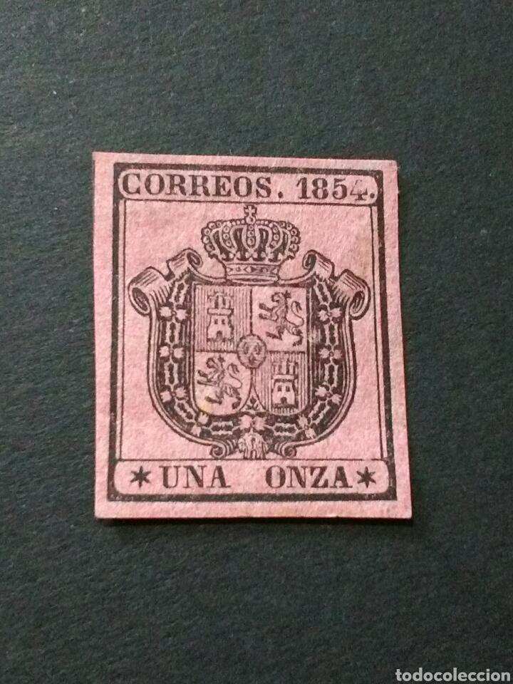 1854. 1 DE JULIO. ESCUDO DE ESPAÑA. 1 ONZA. NUEVO CON CHARNELA. (Sellos - España - Isabel II de 1.850 a 1.869 - Nuevos)