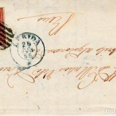 Sellos: CARTA CON SELLO NUM 48 DE RAMON VILAPLANA EN LLEIDA --1856 MATASELLOS DE PARRILLA , FECHADOR AZUL. Lote 124780755