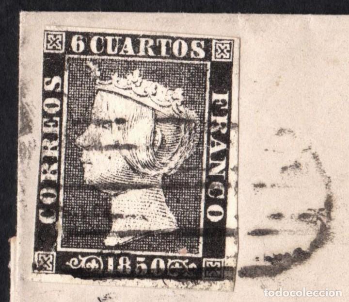 Sellos: 1850 6 CUARTOS NEGRO Nº 1 PLANCHA 1 - PARRILLA DE MADRID - A PAMPLONA - TAL FOTO - ISABEL II LETTER - Foto 2 - 125865687