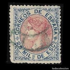 Sellos: 1867. CIFRAS DE ISABEL II. 25 M AZUL Y ROSA . MATASELLO. EDIF. Nº 95. Lote 126637711