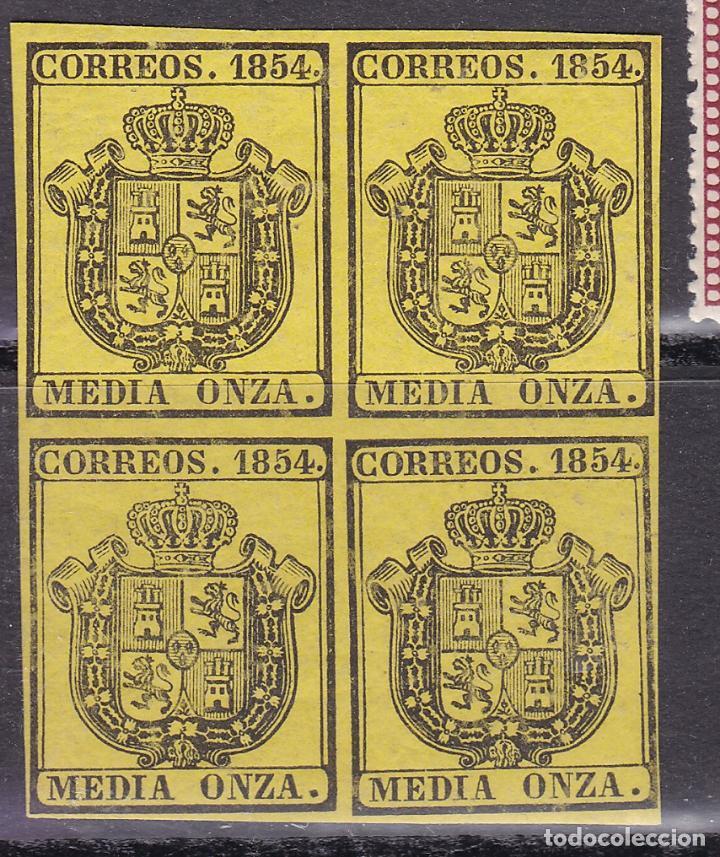 CL3-43-CLÁSICOS EDIFIL 28 BLOQUE DE 4 ** SIN FIJASELLOS (Sellos - España - Isabel II de 1.850 a 1.869 - Nuevos)