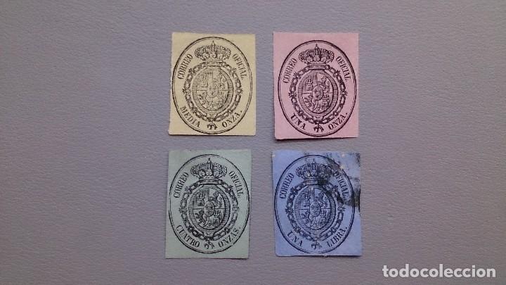 ESPAÑA - 1855 - ISABEL II - EDIFIL 35/38 - SERIE COMPLETA - ESCUDO DE ESPAÑA - VALOR CATALOGO 45,50€ (Sellos - España - Isabel II de 1.850 a 1.869 - Nuevos)