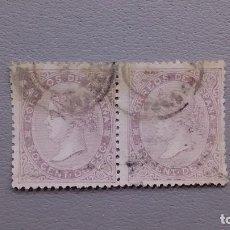 Sellos: ESPAÑA - 1867 - ISABEL II - EDIFIL 92 - PAREJA - MUY BONITOS - MATASELLOS FECHADOR - VALOR CAT. 60€.. Lote 128899243