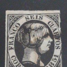 Sellos: ESPAÑA CLÁSICO ISABEL II SEIS CUARTOS 1851. Lote 130831456
