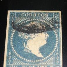Sellos: ESPAÑA CLÁSICO ISABEL II EX COLONIA CUBA 1/2 REAL PLATA 1855. Lote 130831752