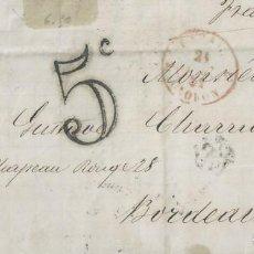 Sellos: CARTA DE 1861 DE AYERBE A BURDEOS (FRANCIA) CON MATASELLOS FECHADOR.. Lote 131356814