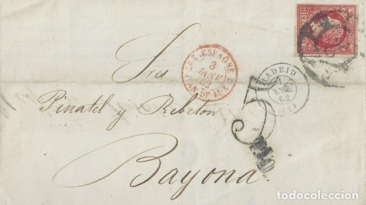 ENVUELTA DE MADRID A BAYONA (FRANCIA) EL 1 DE ENERO DE 1862. (Sellos - España - Isabel II de 1.850 a 1.869 - Cartas)