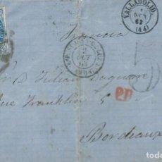 Sellos: ENVUELTA DE 1863 A BURDEOS (FRANCIA) CON MATASELLOS RUEDA DE CARRETA Nº 44 DE VALLADOLID.. Lote 131439446