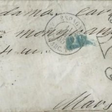 Sellos: SOBRE MECÁNICO DE 1865 A MARSELLA (FRANCIA) CON MATASELLOS PARRILLA Nº 2 DE BARCELONA.. Lote 131440302
