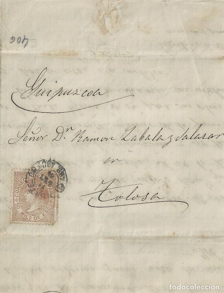 CARTA DE 1867 DE OYARZUN A TOLOSA CON MATASELLOS AMBULANTE NORTE. (Sellos - España - Isabel II de 1.850 a 1.869 - Cartas)