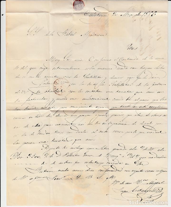 Sellos: CARTA CON SELLO NUM 44 DE CALATAYUD - 1856 MATASELLOS DE PARRILLA Y FECHADOR - Foto 3 - 131504626