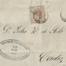 Sellos: CARTA DE 1867 DE VALENCIA A CÁDIZ CON MATASELLOS AMBULANTE.. Lote 131513062