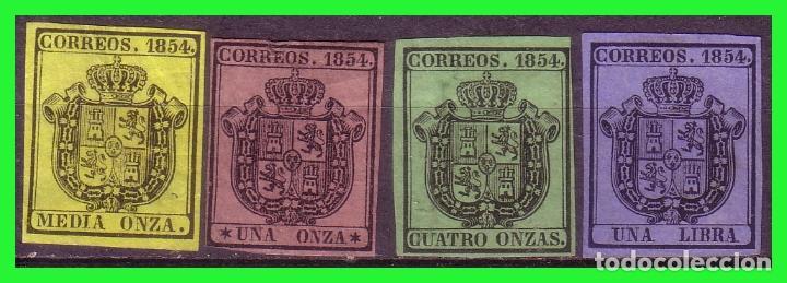1854 ESCUDO DE ESPAÑA, EDIFIL Nº 28 A 31 (*) COMPLETA (Sellos - España - Isabel II de 1.850 a 1.869 - Nuevos)