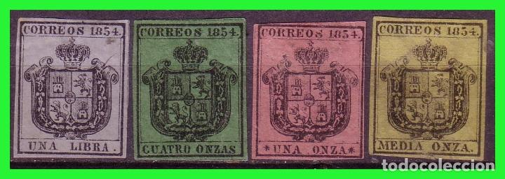 1854 ESCUDO DE ESPAÑA, EDIFIL Nº 28F A 31F (*) RARA SERIE COMPLETA (Sellos - España - Isabel II de 1.850 a 1.869 - Nuevos)