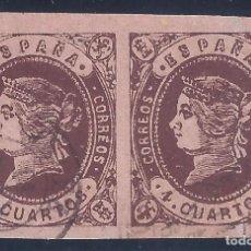 Sellos: EDIFIL 58 ISABEL II AÑO 1862. PAREJA (DIVERSAS VARIEDADES...ROTO EL 4 DE CUARTOS...). LUJO.. Lote 132245054