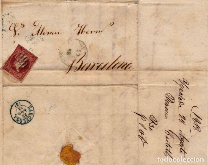 1856 EDIFIL 48 CARTA A BARCELONA MATASELLOS REJILLA IGUALADA AZUL (Sellos - España - Isabel II de 1.850 a 1.869 - Cartas)
