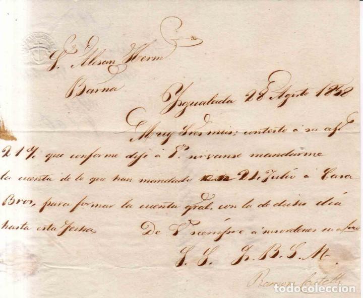Sellos: 1856 edifil 48 carta a Barcelona matasellos rejilla Igualada azul - Foto 2 - 133231138