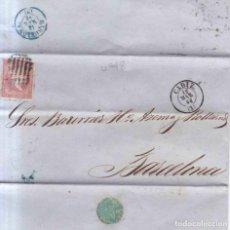Sellos: AÑO 1856 EDIFIL 48 CARTA MATASELLOS REJILLA CADIZ TIPO II. Lote 133318758