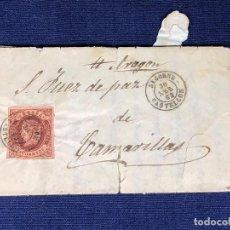 Sellos: CARTA DE SEGORBE CASTELLON A CAMARILLAS TERUEL SELLO CUATRO CUARTOS 30 ABRIL 1863 7X11,5CMS. Lote 133399586