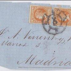 Sellos: F27-54-CARTA CADIZ-MADRID 1860. FRONTAL CON TRIPLE PORTE. RARO. Lote 133475654