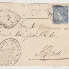 Sellos: F27-55- MUY RARO FRONTAL CON AMBULANTE OVAL Y MARCA AYTº LA GINETA (ALBACETE ) 1866. Lote 133476674