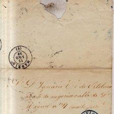 Sellos: AÑO 1856 EDIFIL 48 ENVUELTA MATASELLOS REJILLA Y AZUL BARCELONA. Lote 133638834