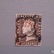 Sellos: ESPAÑA-1850 - ISABEL II - EDIFIL 1 - MATASELLOS FECHADOR PREFILATELICO 1850 Y ARAÑA - COLOR INTENSO. Lote 134654974