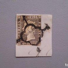 Sellos: ESPAÑA-1850 - ISABEL II - EDIFIL 1 A - SOBRE FRAGMENTO - MATASELLOS ARAÑA - COMPLETO - LUJO.. Lote 134656946