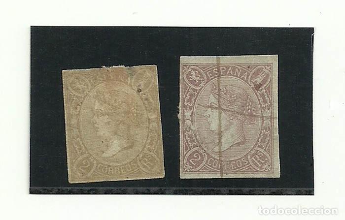 1865, 2 SELLOS DE 2 REALES VARIANTES DE EDIFIL 73 Y 73A (Sellos - España - Isabel II de 1.850 a 1.869 - Usados)