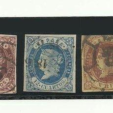 Sellos: 1862, EDIFIL 58, 59 Y 61, 4 CUARTOS, 12 CUARTOS Y 1 REAL. Lote 135815670