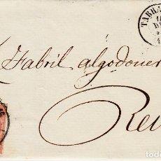 Sellos: CARTA ENTERA CON NUM. 48 DE TARRAGONA A REUS CON RUEDA DE CARRETA 1858. Lote 136267746