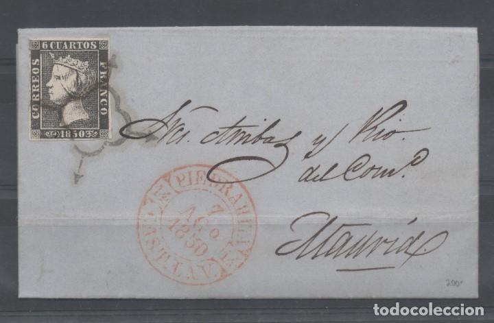 ESPAÑA_CARTA 6 CUARTOS NEGRO DE PIEDRAHITA A MADRID__FECHADOR BAEZA NITIDO_RARA_VER FOTOS (Sellos - España - Isabel II de 1.850 a 1.869 - Cartas)