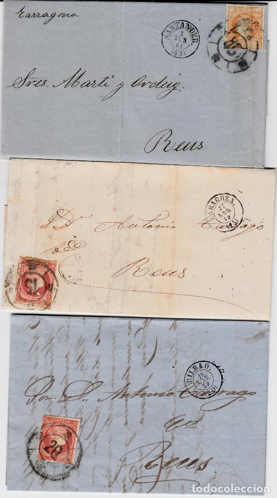 LOTE 3 CARTAS CON MATASELLOS RUEDA DE CARRETA - BILBAO SANTANDER ZARAGOZA (Sellos - España - Isabel II de 1.850 a 1.869 - Cartas)