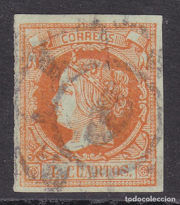 1860. ISABEL II SELLO USADO EDIFIL Nº 52 RUEDA DE CARRETA Nº 6 DE MÁLAGA (Sellos - España - Isabel II de 1.850 a 1.869 - Usados)