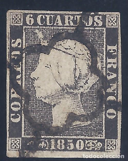 EDIFIL 1A. ISABEL II. AÑO 1850. EXCELENTE MATASELLOS DE ARAÑA NEGRA. PAPEL GRUESO. LUJO. (Sellos - España - Isabel II de 1.850 a 1.869 - Usados)