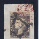 Sellos: EDIFIL 1A. ISABEL II. AÑO 1850. DOBLE MATASELLOS NEGRO Y ROJO. SOBRE FRAGMENTO. RARO. LUJO.. Lote 139750790