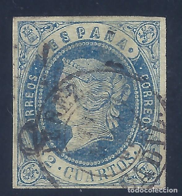 EDIFIL 57 ISABEL II. AÑO 1864. MATASELLOS JERÉZ DE LA FRONTERA. VALOR CATÁLOGO: 16 €. (Sellos - España - Isabel II de 1.850 a 1.869 - Usados)