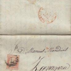 Sellos: CARTA ISABEL Nº 12 ,6 CUARTOS ,AÑO 1852 .- MAT PARRILLA FECHADOR BAEZA DEST ZARAGOZA . Lote 140096618
